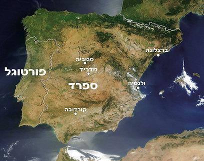 מפת ספרד ובה סגוביה (צילום: שלמה צדקיהו) (צילום: שלמה צדקיהו)