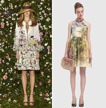 שמלות פרחוניות (ויקרות) בקולקציות של בתי האופנה: גוצ'י, 18,200 שקל (משמאל) ורד ולנטינו לפקטורי 54, 4,790 שקל (צילום: ג'ון אדוארד)