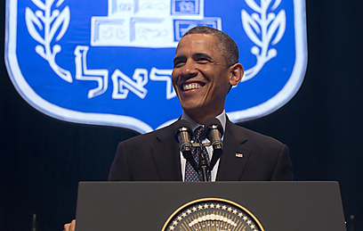 """אובמה. לא התבלבל גם בקריאת הביניים: """"זה הדיון הער"""" (צילום: AFP) (צילום: AFP)"""