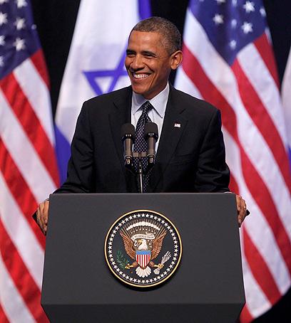 אובמה משתעשע במהלך הנאום (צילום: רויטרס) (צילום: רויטרס)