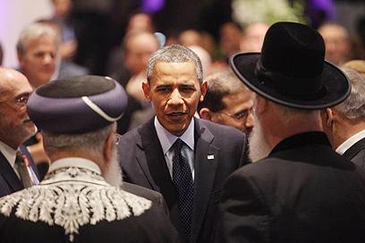 אובמה והרבנים הראשיים בארוחת הערב בבית הנשיא (צילום: גיל יוחנן) (צילום: גיל יוחנן)