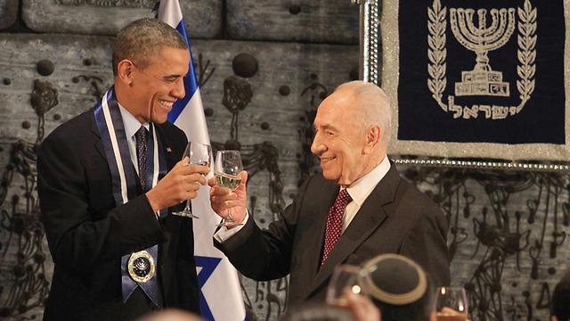 Peres and Obama at the President's Residence in Jerusalem (Photo: Gil Yohanan) (Photo: Gil Yohanan)