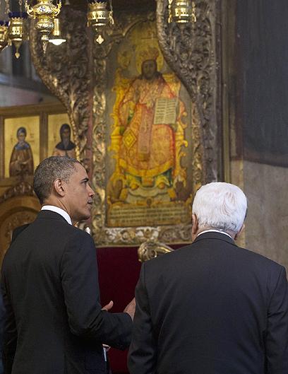 ג'יזס! אבו מאזן ואובמה בכנסיית המולד בבית לחם (צילום: AFP) (צילום: AFP)