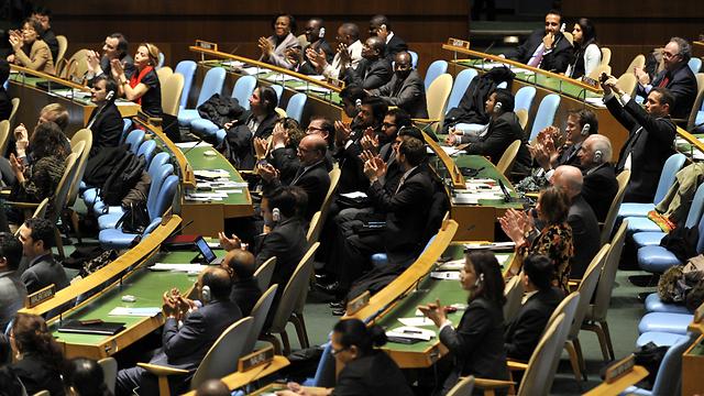 """קדאפי טען: """"ישראל התנקשה בקנדי"""". הנציגים בעצרת האו""""ם (צילום: AFP) (צילום: AFP)"""