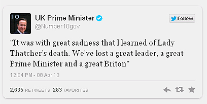 """ציוץ ההספד של קמרון. """"איבדנו ראש ממשלה גדולה"""" ()"""