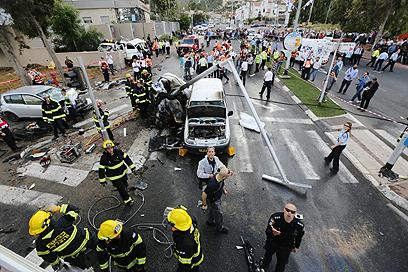 הרמזור שבו נפגעו שמונת כלי הרכב (צילום: חגי אהרון) (צילום: חגי אהרון)