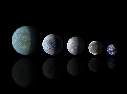 כדור הארץ (מימין) והדמיה של כוכבי לכת בעלי פוטנציאל ליישוב. משמאל לימין: קפלר 22b, קפלר 69c, קפלר 62 וקפלר 62f (צילום: רויטרס) (צילום: רויטרס)