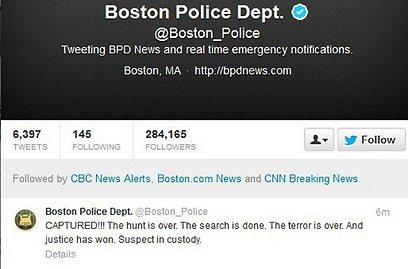 """נתפס!!!"". הודעת משטרת בוסטון באינטרנט (צילום: רויטרס) (צילום: רויטרס)"