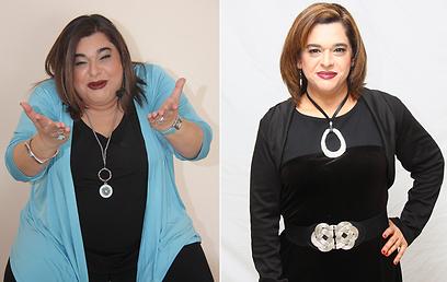 """ענת אביעד לפני הדיאטה (משמאל) ואחריה. """"ענת השמנה תמיד תישאר חלק ממני"""" (צילום: מאיה מוסנאים וובר) (צילום: מאיה מוסנאים וובר)"""