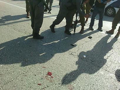 """זירת הפיגוע. המחבל נפצע בינוני (צילום: הצלה יו""""ש) (צילום: הצלה יו"""