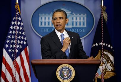 אובמה במסיבת העיתונאים הערב (צילום: AP) (צילום: AP)
