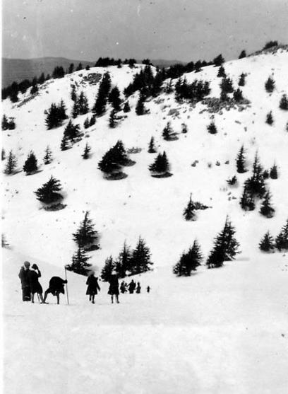"""מסע מושלג להרי השוף בלבנון  (צילום: באדיבות ארכיון ביה""""ס הראלי העברי בחיפה) (צילום: באדיבות ארכיון ביה"""