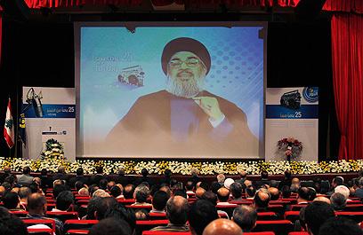 נדחף על ידי איראן למלחמה הסורית. נאום נסראללה בשבת (צילום: רויטרס) (צילום: רויטרס)