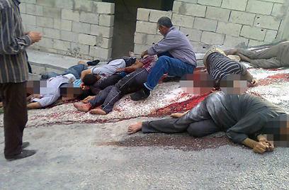 הטבח בסוריה נמשך. גופות הרוגים ליד העיר בניאס (צילום: AP) (צילום: AP)