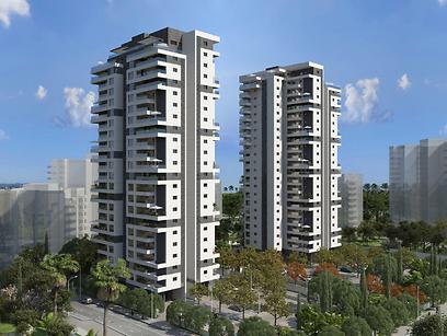 """הדמיית שני המגדלים בפרויקט החדש (צילום: שיכון ובינוי נדל""""ן)"""