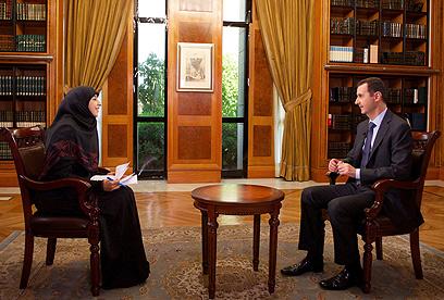 Assad speaks to Al Manar (Photo: AP) (Photo: AP)