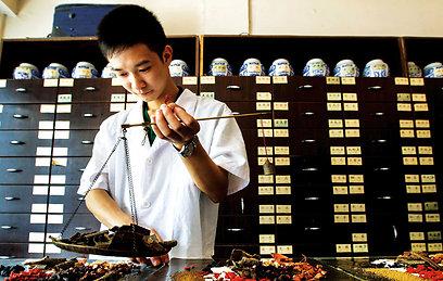 """מתמחה מכין תרופה ע""""פ מרשם של ד""""ר שיאנג צ'אנגקווינג בקליניקה שלו בעיר חווי-חווא  (צילום: רוני סופר) (צילום: באדיבות טבע הדברים) (צילום: באדיבות טבע הדברים)"""