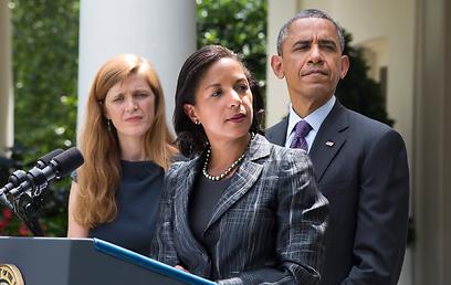 לחצו על הנשיא להתערב צבאית בלוב. אובמה, רייס ופאוור (צילום: EPA) (צילום: EPA)