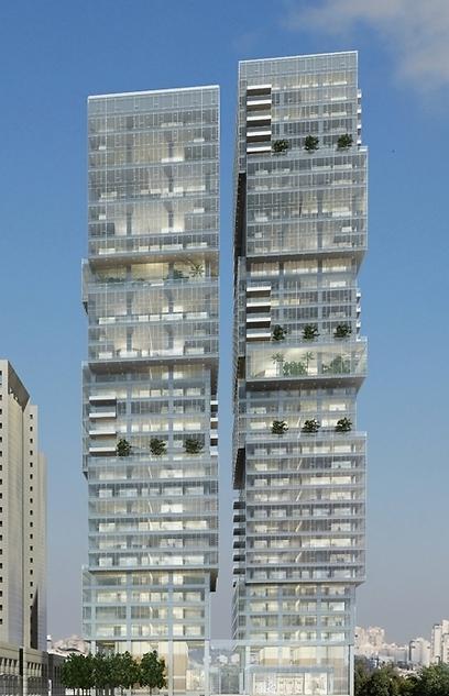 הדמיית מגדלי הארבעה עם הקומות הנוספות (הדמיה: View Point) (הדמיה: View Point)