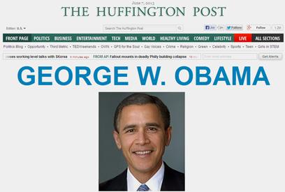 """ביקורת חריפה בארה""""ב: אובמה-בוש - מתוך אתר האינטרנט הפינגטון פוסט שנחשב פרו-דמוקרטי ()"""