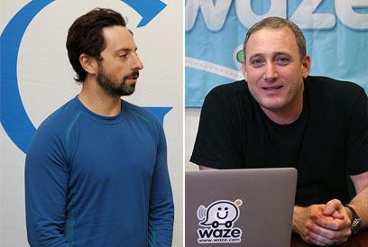 """מנכ""""ל waze, נועם ברדין (מימין) ומייסד גוגל, סרגיי ברין (צילום: משה מילנר, לע""""מ, צביקה טישלר) (צילום: משה מילנר, לע"""