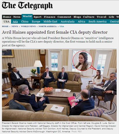 היינס (מסומנת בעיגול אדום) בישיבה עם אובמה בבית הלבן (צילום: טלגרף) (צילום: טלגרף)