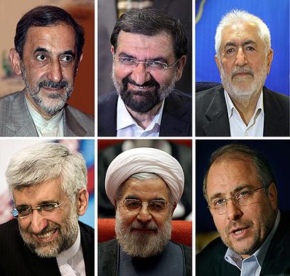 ששת המועמדים שהתמודדו בבחירות. רוחאני באמצע למטה (צילום: AFP) (צילום: AFP)
