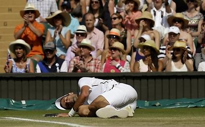 ג'וקוביץ' על הדשא. מארי שולט במשחק  (צילום: AFP ) (צילום: AFP )