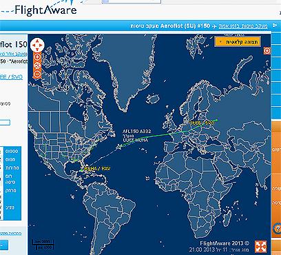 """המטוס הרוסי טס בנתיב שעוקף את ארה""""ב. מסלול הטיסה בזמן אמת ()"""