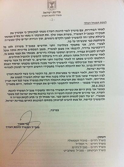 מכתב ההתפטרות של גבי אופיר (צילום: יואב זיתון) (צילום: יואב זיתון)