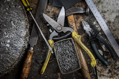 כלי העבודה של ארנולד (צילום: אבישג שאר-ישוב) (צילום: אבישג שאר-ישוב)