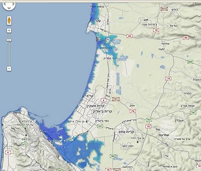 מפרץ חיפה עד עכו - עלייה של 4 מטרים (באדיבות האוניברסיטה העברית) (באדיבות האוניברסיטה העברית)