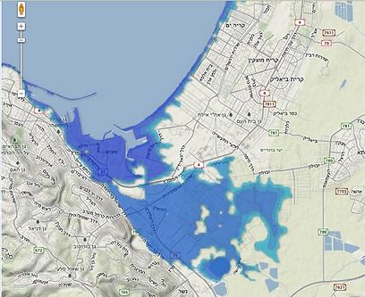מפרץ חיפה. עלייה של 4 מטרים במפלס (באדיבות האוניברסיטה העברית) (באדיבות האוניברסיטה העברית)