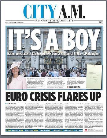 """העיתון הכלכלי """"סיטי איי.אם"""" בכותרת """"זה בן"""", כשברקע תמונת הארמון וההמונים שהגיעו לשמוע את ההודעה על הלידה ()"""