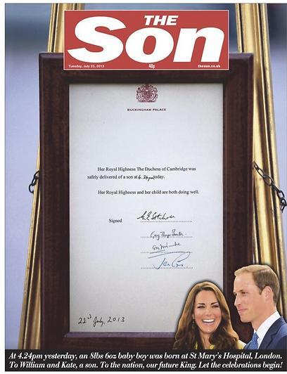 ה-Sun החליף ל-The Son והציג את ההודעה שנתלתה מחוץ לארמון ובישרה על הולדת הבן