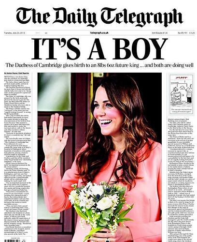 """""""הטלגרף"""" פתחו עם """"זה בן"""", כותרת שתחזור על עצמה בעיתונים נוספים. במרכז תמונה של קייט מידלטון ההריונית"""
