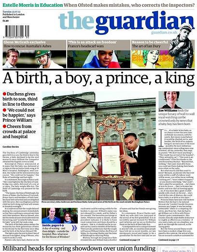 """""""לידה, בן, נסיך, מלך"""" ממש כמו מילות לחיפוש בגוגל - כך פתח העיתון גרדיאן את שערו"""