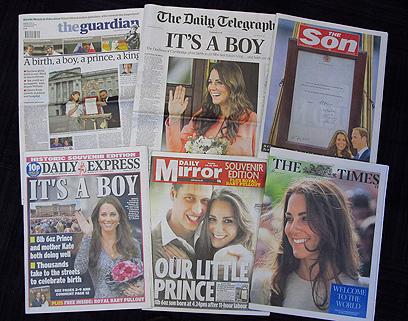 """""""זה בן!"""". עיתוני בריטניה חוגגים את לידת התינוק המלכותי (צילום: AP) (צילום: AP)"""