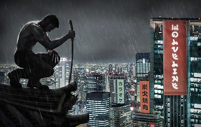 וולברין על רקע העיר היפנית ()