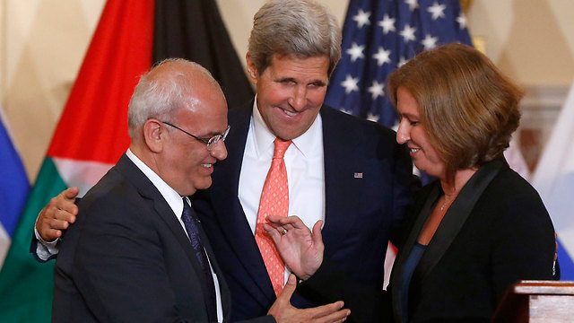 Best chance? Erekat (L) with Kerry and Livni