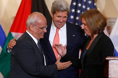 Erekat, Kerry, Livni (Photo: AP) (Photo: AP)