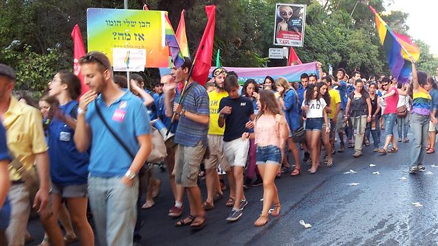 """""""יש פרובוקציות כל שנה"""". מצעד הגאווה בירושלים, הערב (צילום: בטי עזרי)"""
