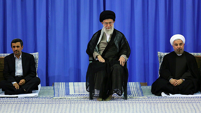 Rouhani, right, with Supreme Leader Ayatollah Khamenei, center, and former president Ahmadinejad in 2013 (Photo: MCT)