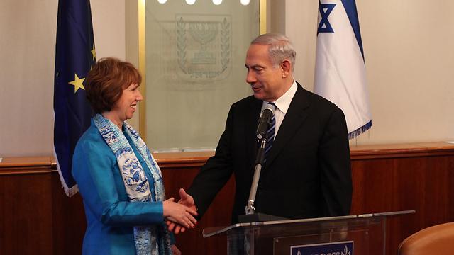 ישראל תלויה במימון אירופי בתחומים כמו מדעי החברה והטבע. נתניהו ואשטון (צילום: גיל יוחנן)
