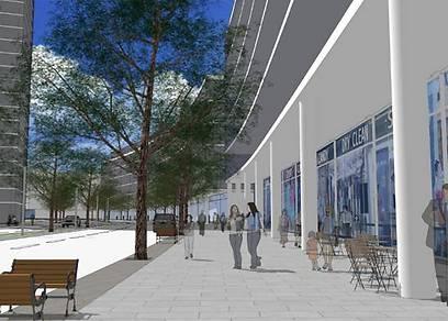 הדמיית המרכז המסחרי במערב השכונה החדשה (הדמיה: מליס אדריכלים) (הדמיה: מליס אדריכלים)