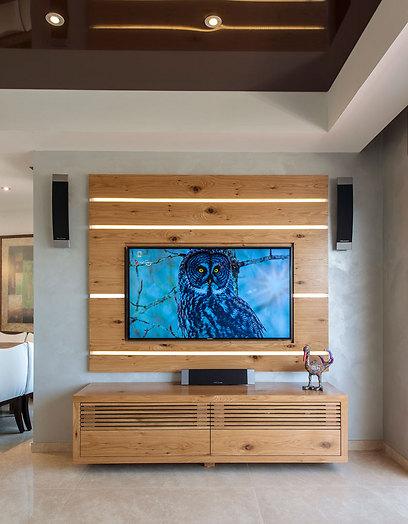 קיר המדיה חופה בפורניר אלון עם שילוב פסי פרספקס מוארים (צילום: אסף הבר) (צילום: אסף הבר)