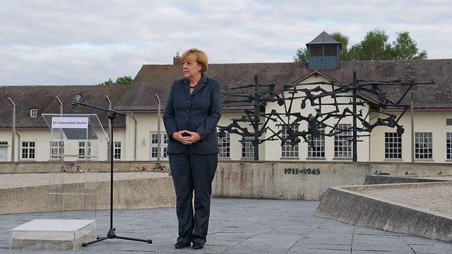 German Chancellor Angela Merkel at Dachau