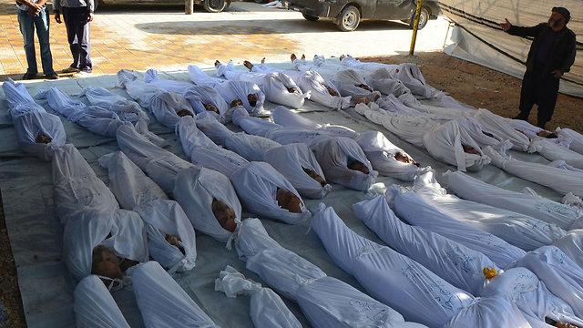 קורבנות מהמתקפה הכימית בדמשק (צילום: רויטרס)