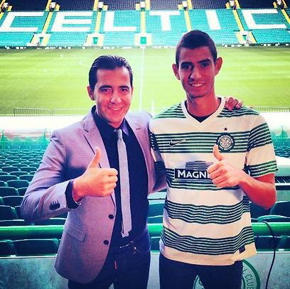 Nir Biton with agent Dudu Dahan at Celtic Park