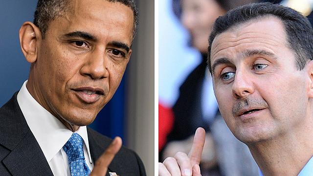 Obama vs. Assad (Photos: AFP)